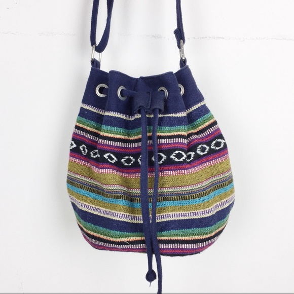 Vintage boho bucket bag crossbody striped hippie